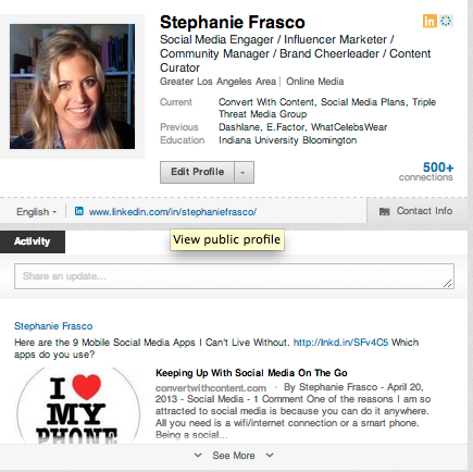 Optimized Social Profile