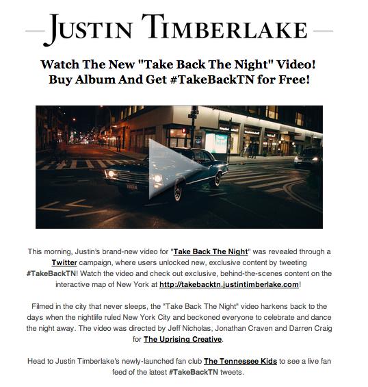 Justin Timberlake Social Media Newsletter