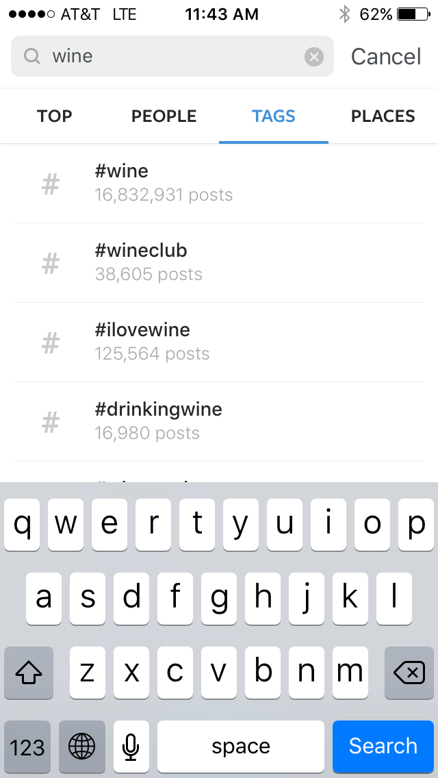 Search by hashtag on instagram